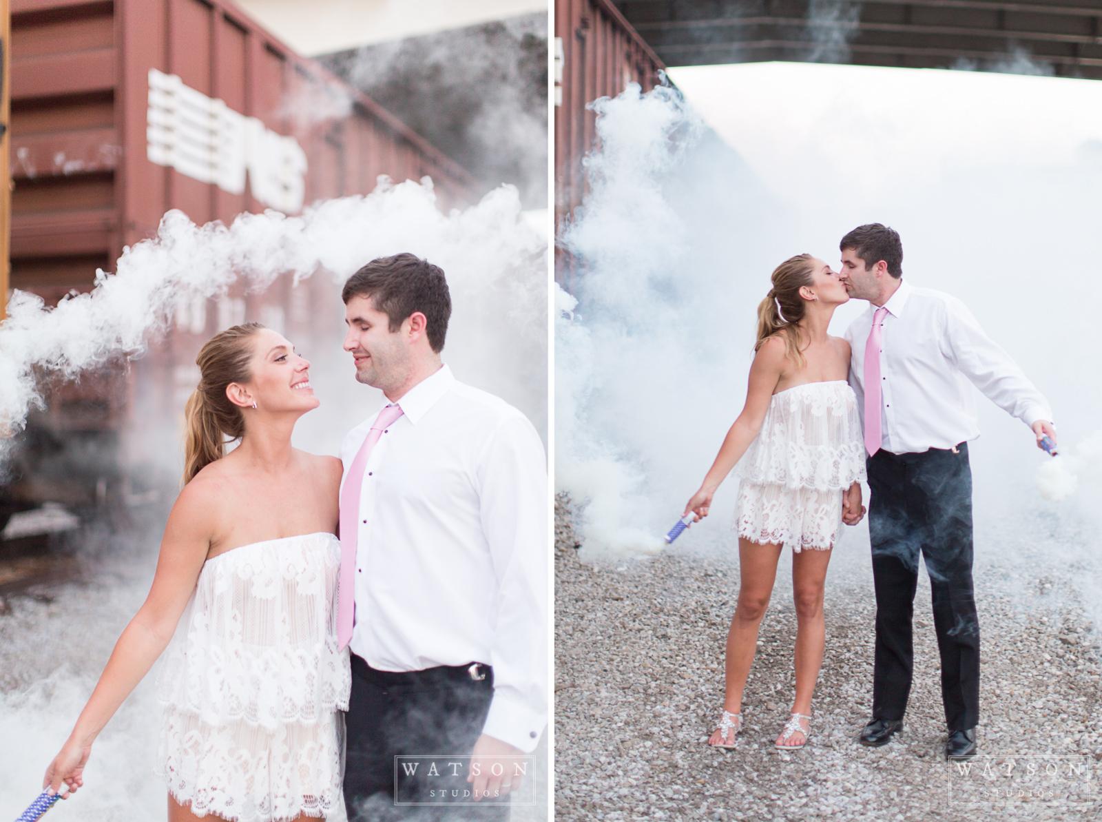 Smoke Bomb Wedding Photo