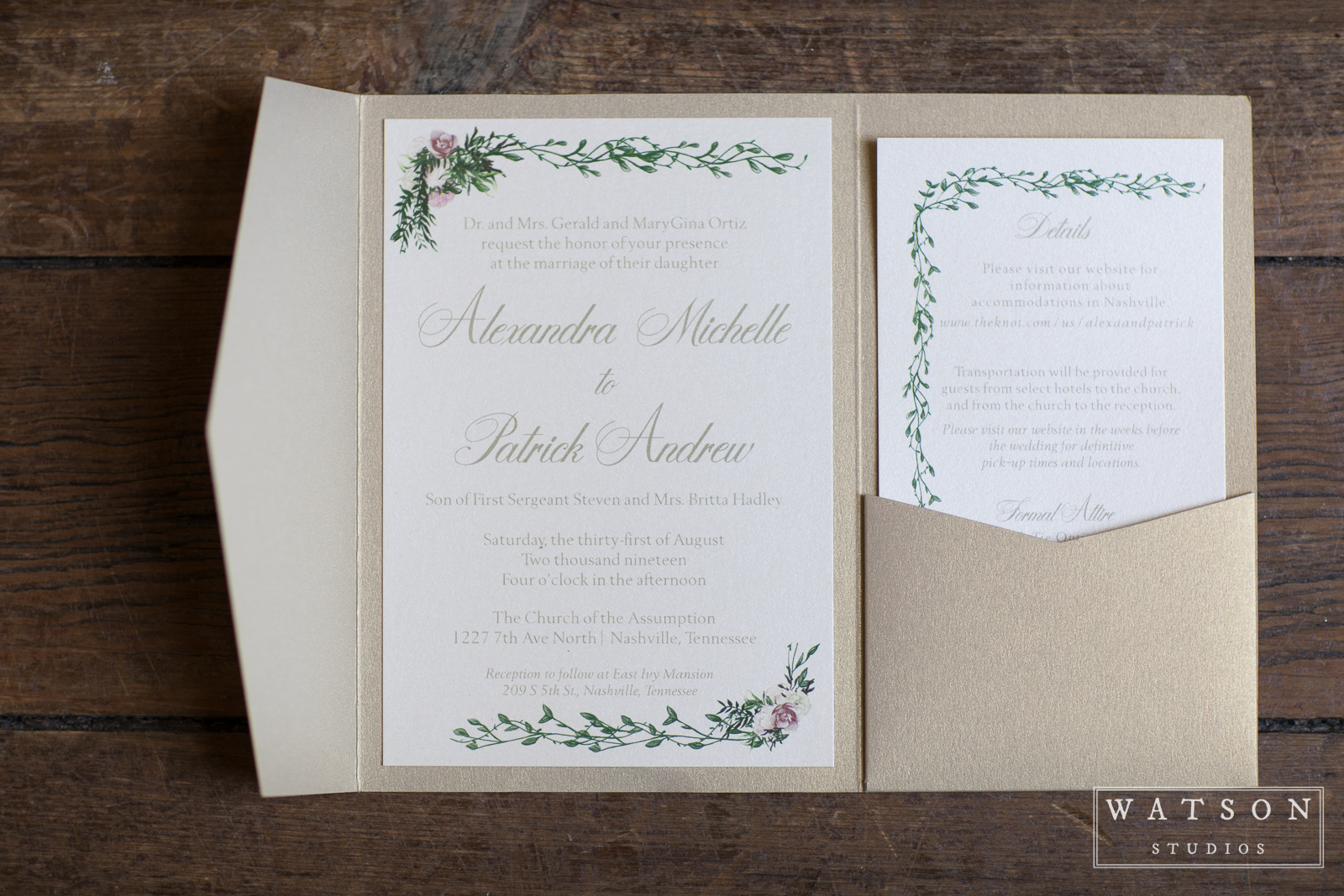 Wedding Invitations at East Ivy Mansion