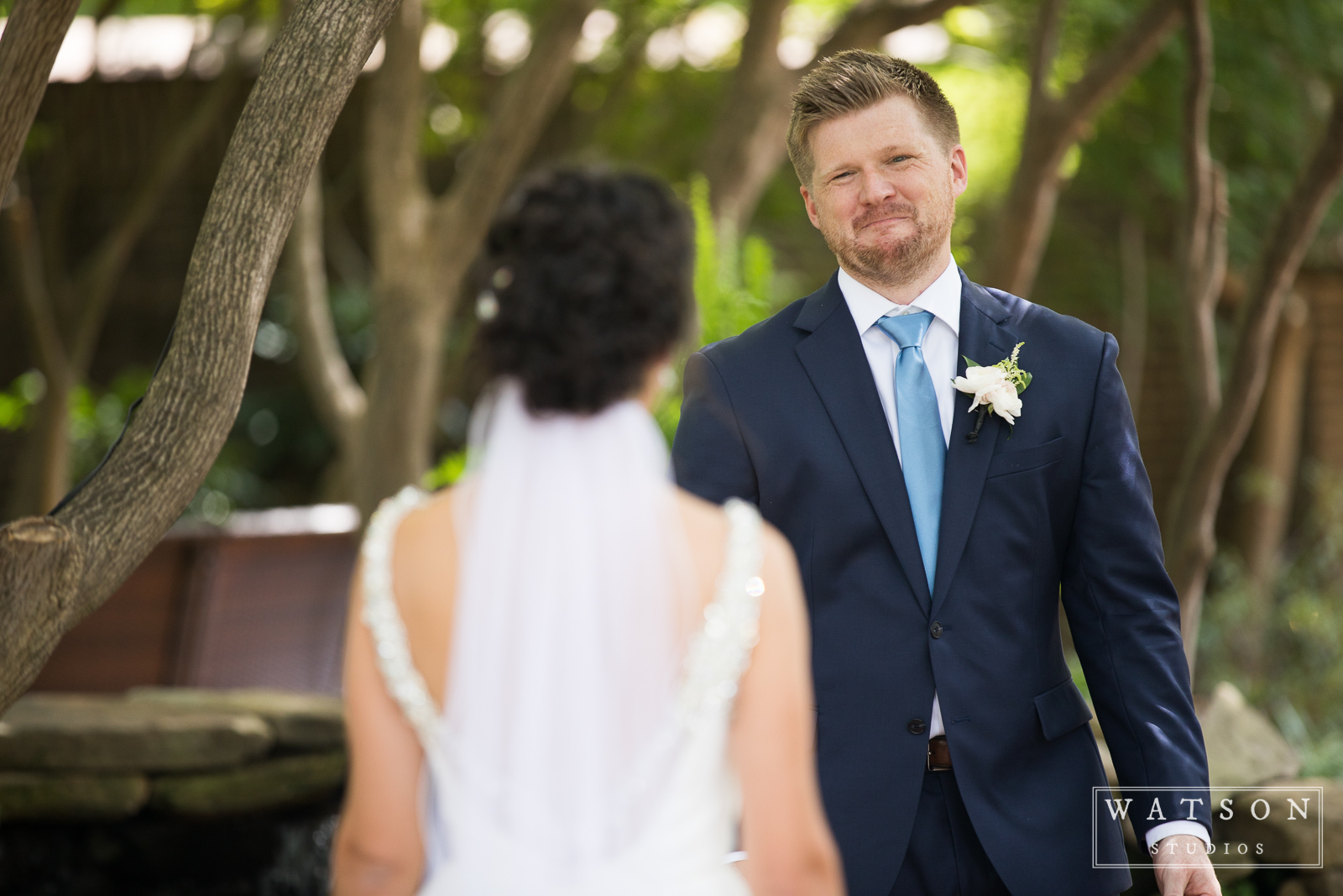 Groom's reaction East Ivy Mansion wedding
