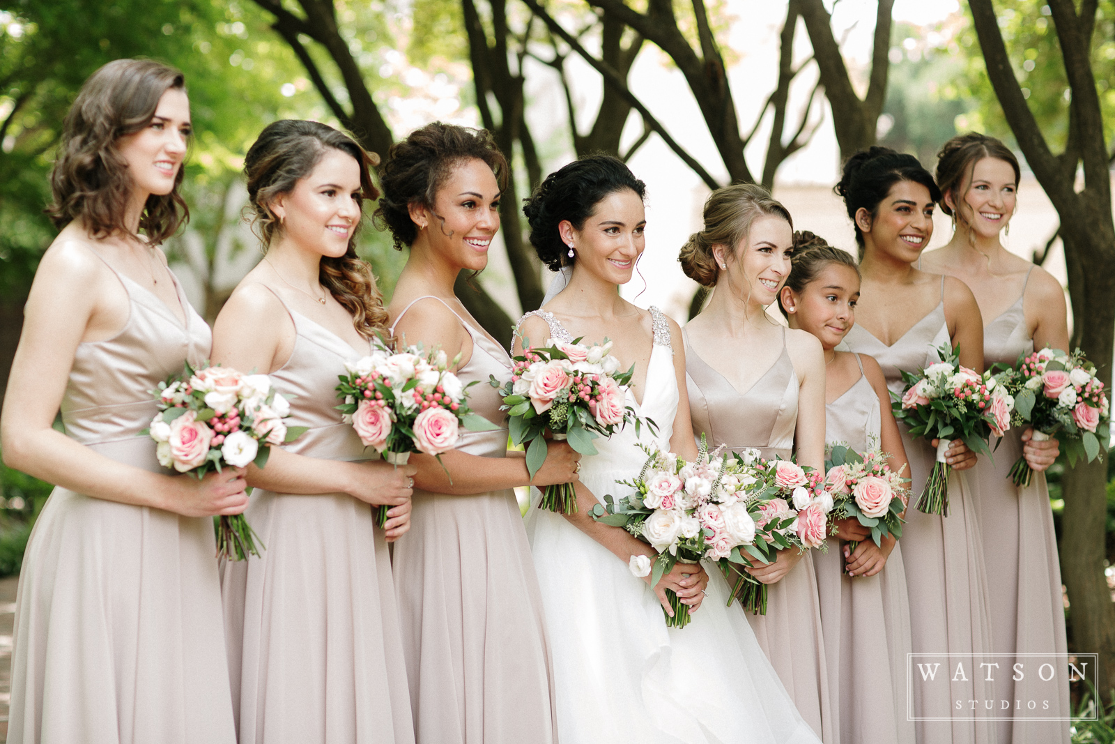 Bride and bridesmaids at East Ivy Mansion wedding
