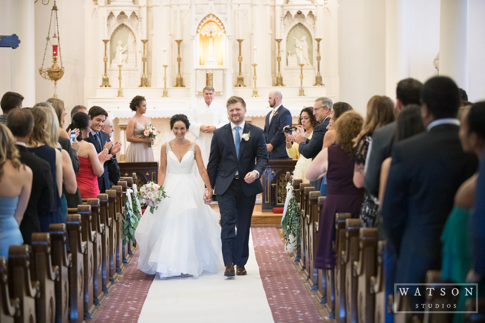Recessional at Church of the Assumption wedding Nashville