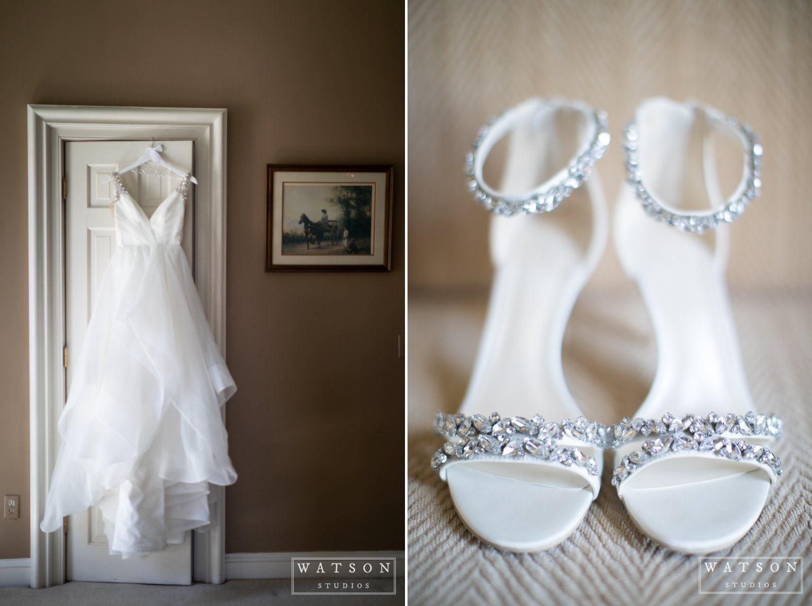 Bridal dress and shoes at East Ivy Mansion wedding